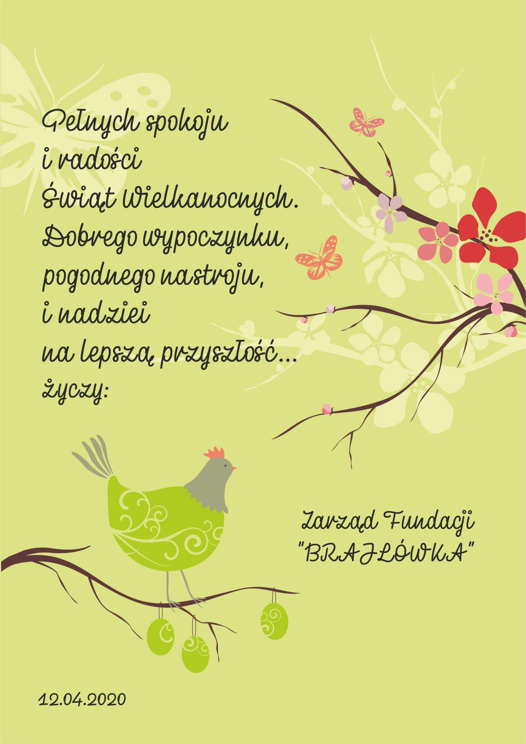 """Pełnych spokoju iradości Świąt Wielkanocnych. Dobrego wypoczynku, pogodnego nastroju inadziei nalepszą przyszłość... życzy Zarząd Fundacji """"Brajlówka"""""""